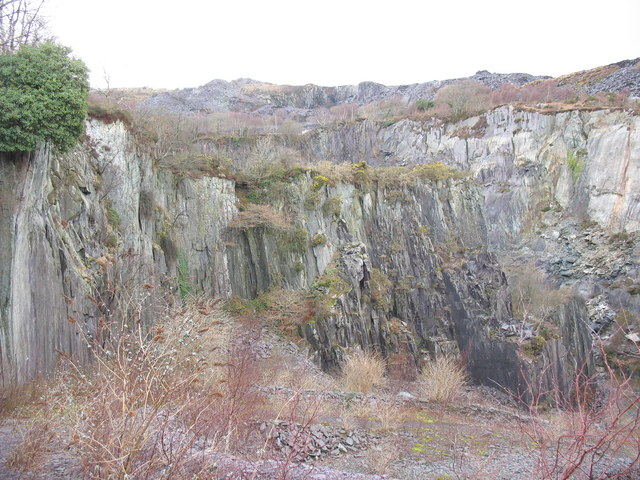 View north-west across the upper pit of Lower Glynrhonwy Quarry