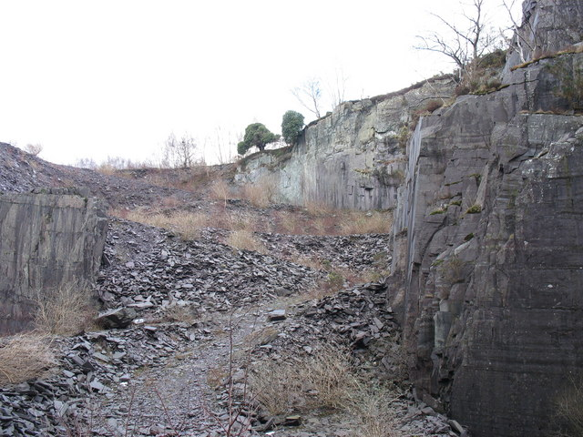 The upward progression of the old MOD road from the upper pit of Lower Glynrhonwy Quarry