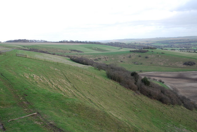 View towards Gallows Hill from Woodlands Down