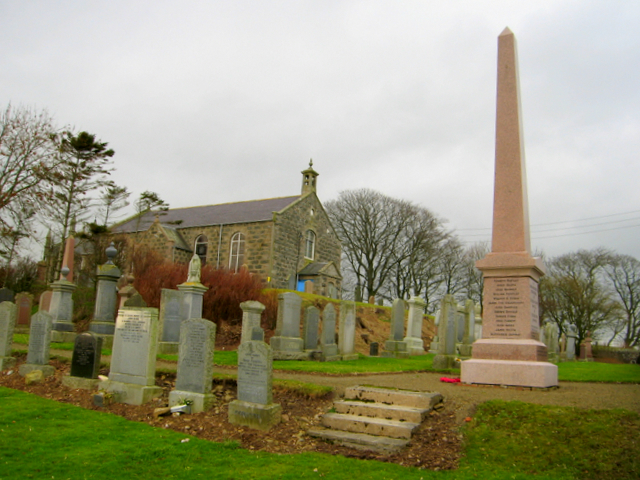 War memorial and disused country kirk, near to Auchnagatt