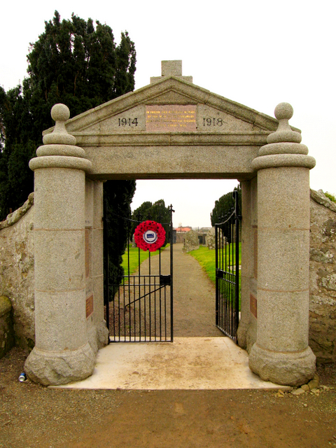 First world war memorial in the form of a gate into Fetterangus kirkyard.