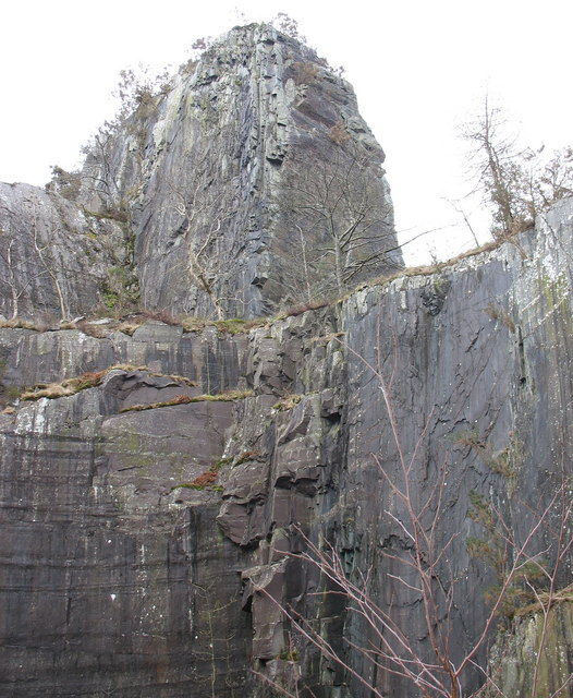 Top of the igneously intruded bar at the upper pit of Glynrhonwy Lower Quarry