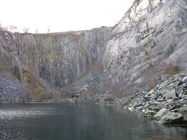 The western end of the upper pit of Glynrhonwy Lower Quarry