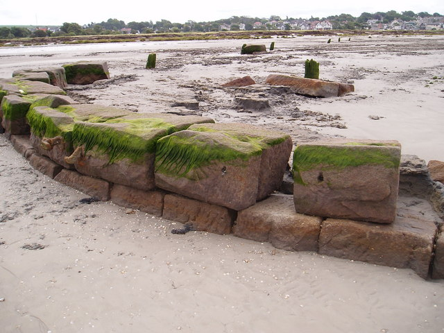 old quay emerging from the sands of Morecambe Bay