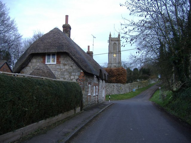 Cottage and church, West Overton
