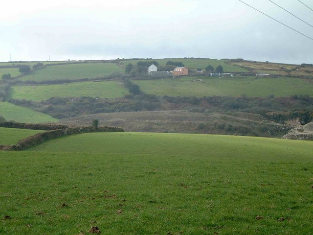 New Lestraynes Farm (Silverwell) With capped landfill site in foreground.
