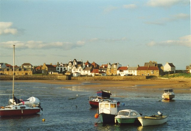 Boats moored on Elie beach