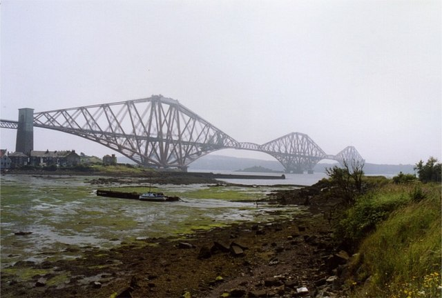 Derelict harbour with Forth Rail Bridge beyond