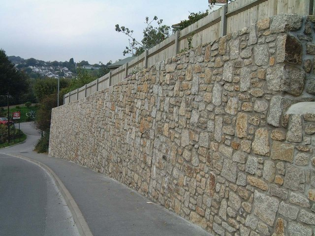 Granite wall above Penmere Station