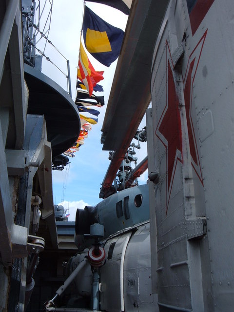 Russian Helicopter on Back of Russian Ship
