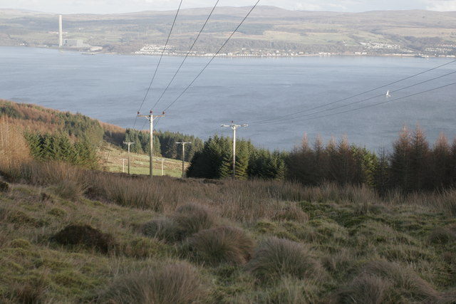Looking east along the power lines, with Inverkip in the distance