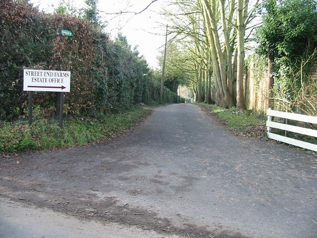Street End Farm lane and public footpath