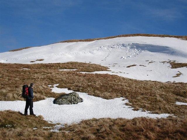 Snow wreath on Meall Dubh Mor