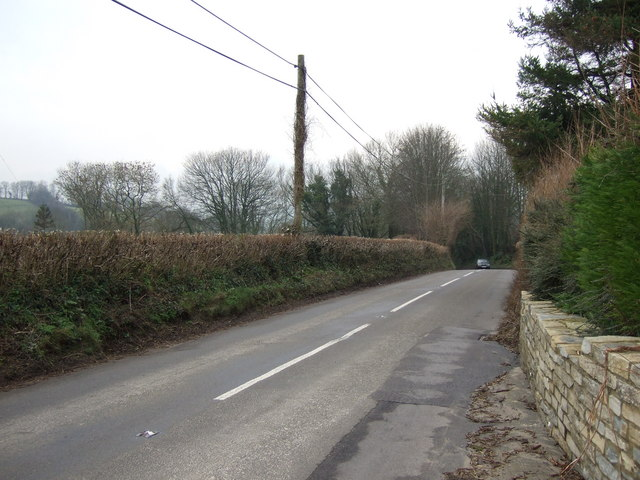 Looking down the B3163 into Beaminster