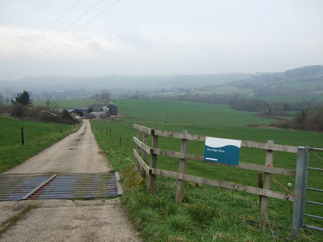 Track down into Storridge Farm