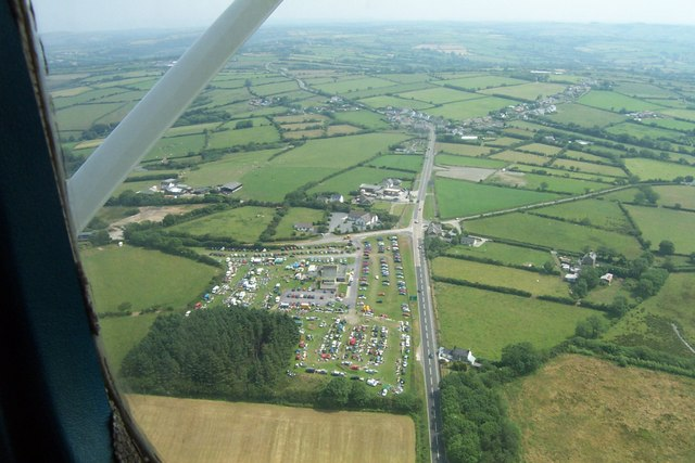 Aerial view of crossroads of A487 and B4333 near Tan-Y-Groes.