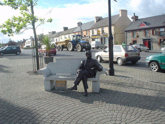Statue of Percy French  in the Town Square of Ballyjamesduff.