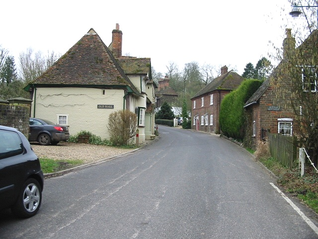 Looking S along The Street, Petham