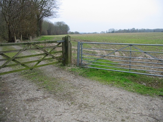 Gates to Earley Wood and field