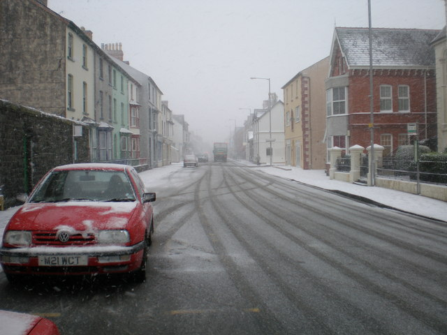 Tywyn High St during the blizzard.