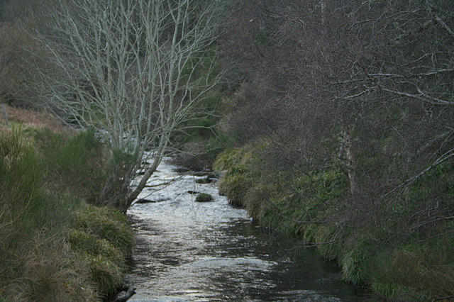 The densely treed banks of the upper reaches of the River Lossie.