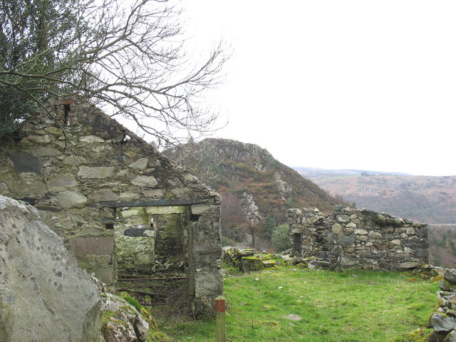 Ruined cowshed and pigsty at Plas Tirion