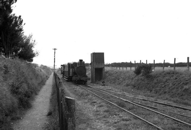 Locomotive taking water, Kirk Michael station, Isle of Man
