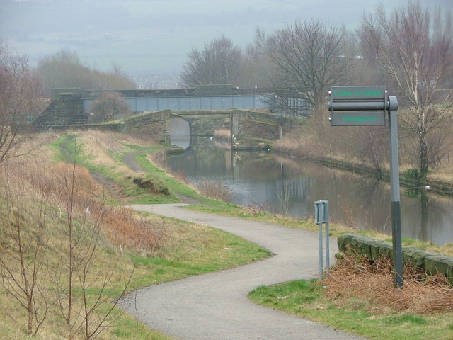 The start of the Spen Valley Greenway & the Calder & Hebble Navigation Canal