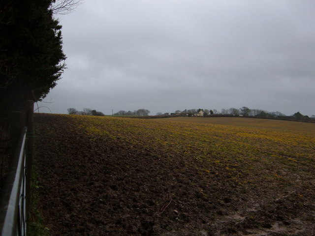 View across muddy field towards 'Horningtops'