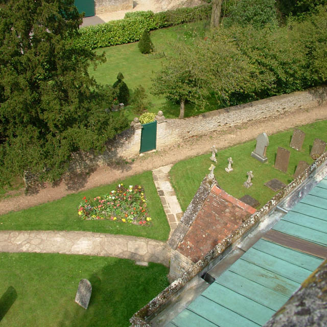 Helmdon churchyard from the church tower