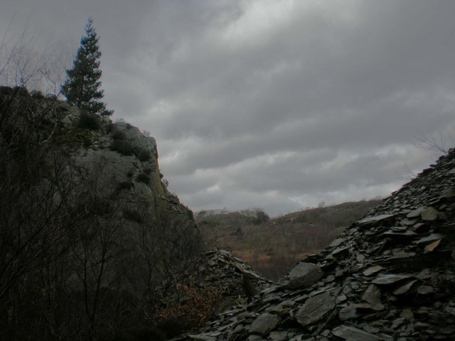 Looking out from Ty'n y Coed Quarry.