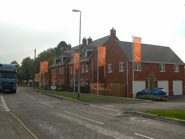 New Housing Built on Poor Platts charity land Kirkby Road Barwell looking towards Top Town