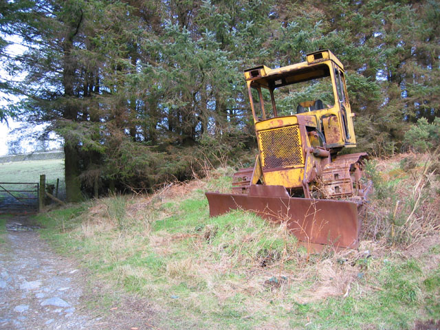 Abandoned digger by conifer plantation