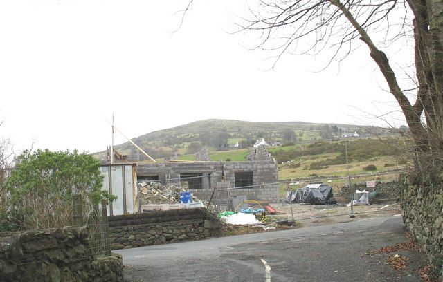 A bungalow under construction on the site of the demolished Maes-y-dref Chapel