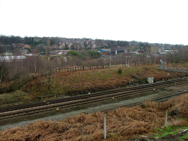View from above the Huddersfield to Mirfield Railway Line