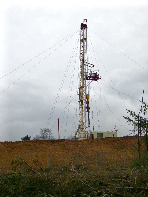 Drilling for gas and oil in Dalby Forest February 2007