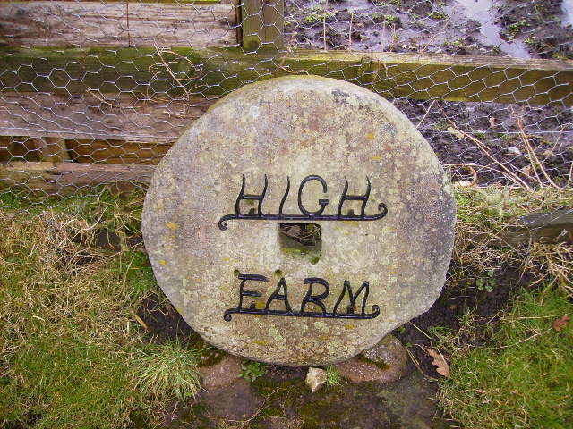 Interesting millstone name sign at High Farm