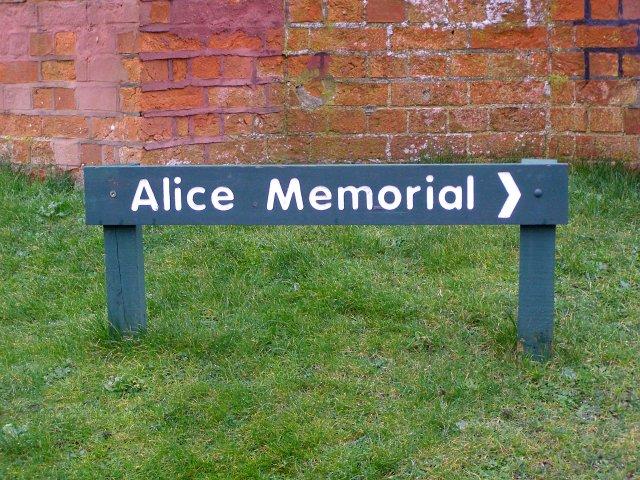 Alice Memorial sign