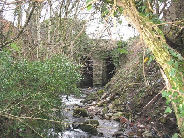 Afon Caledffrwd emerging from the mill wheel tunnel at Melin Sam