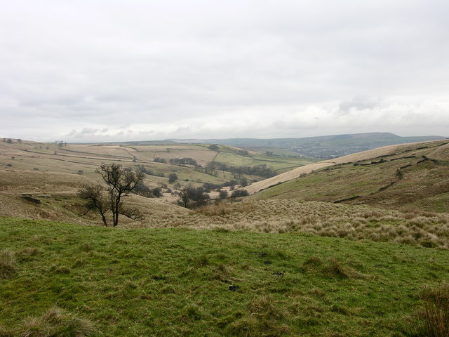 View down Musbury Clough from the head of the valley