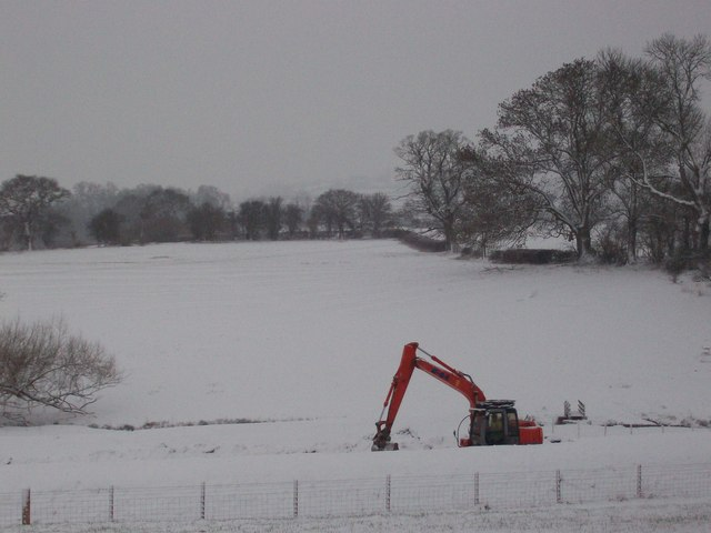 Bronllys Bypass construction in the snow