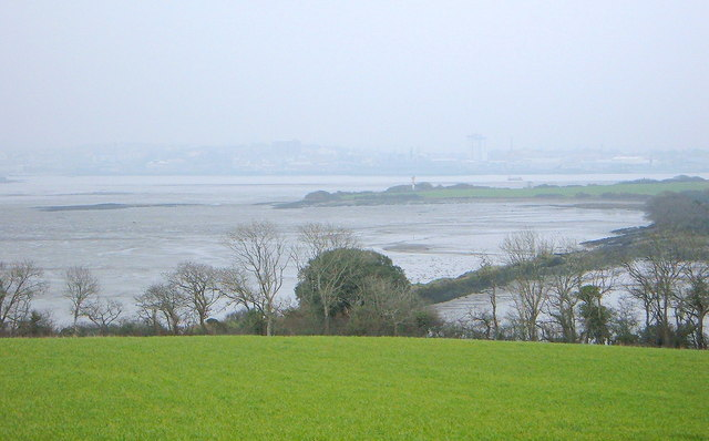 View across marsh wall to Sango Island