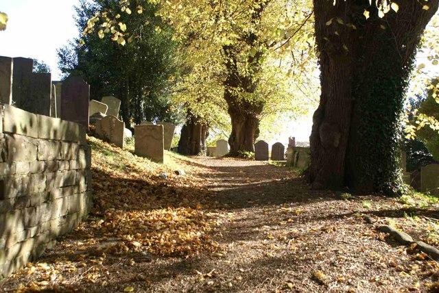 Autumn Churchyard Scene