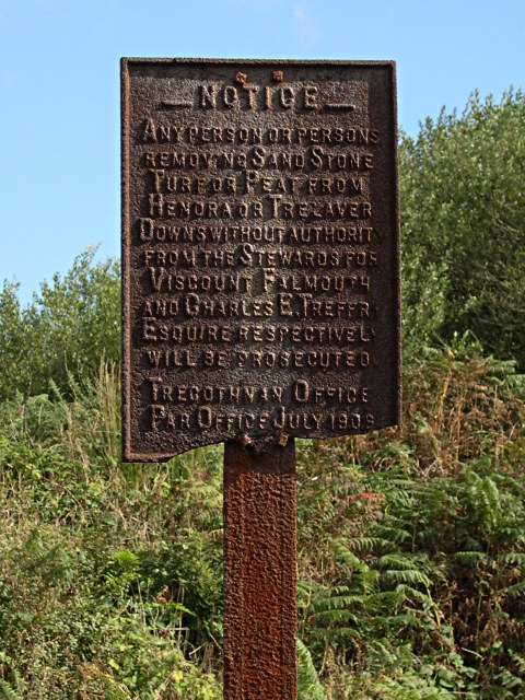 Old Warning Notice on Trelavour Downs