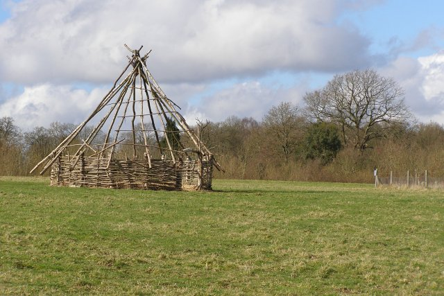 Replica ancient roundhouse, Testwood Lakes nature reserve