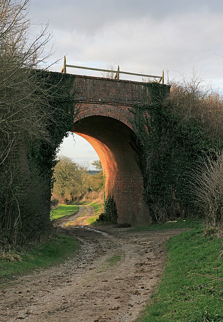 Byway passing under bridge of dismantled railway near Larkwhistle Farm