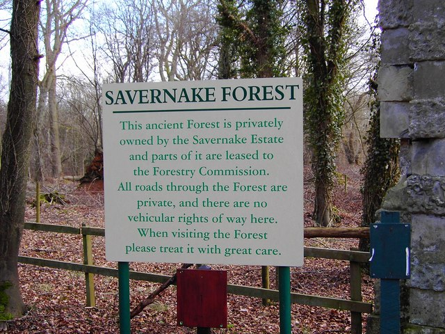 Sign at entrance to Savernake Forest from the A4