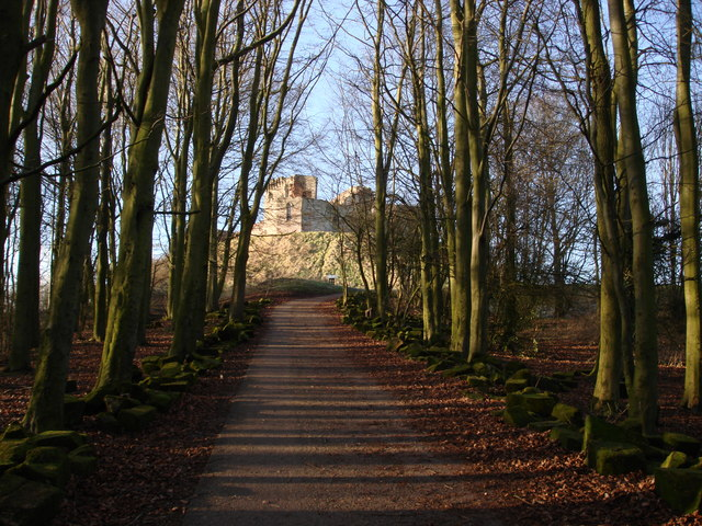 Stafford Castle in winter sunlight