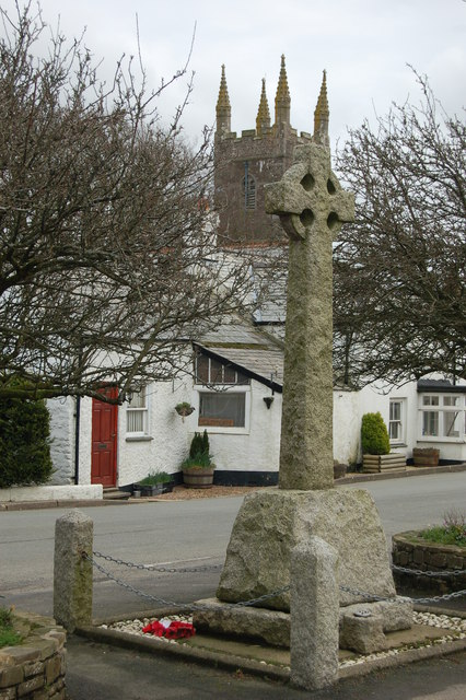 War memorial and church, Bradworthy