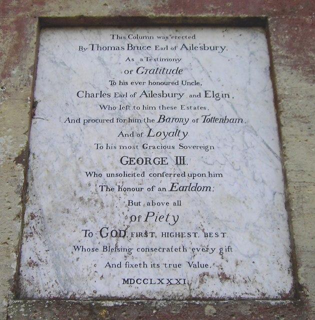 The 'Ailesbury' column, Savernake, inscription 2